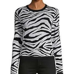 Alice +Olivia Jeans Top Tiger Large White/…